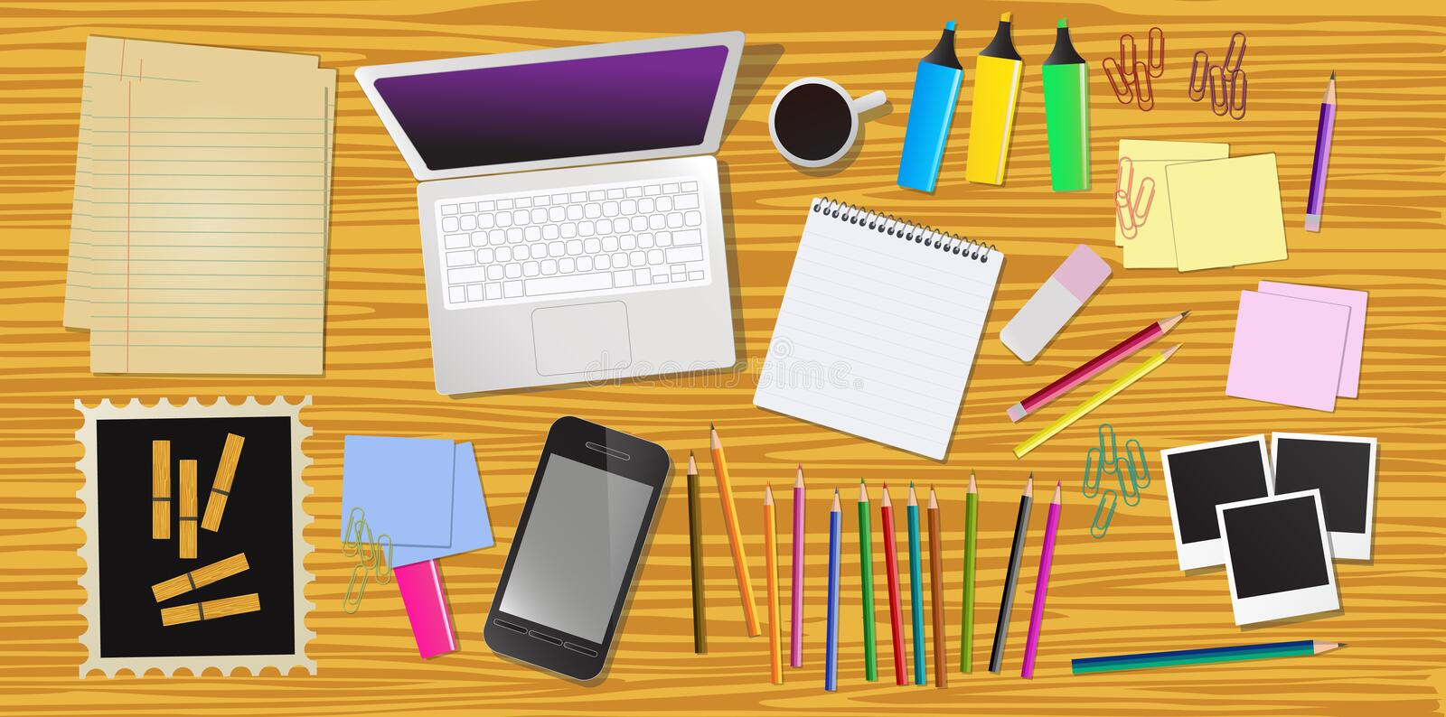 Work desk. With laptop, cell phone and stationery vector illustration