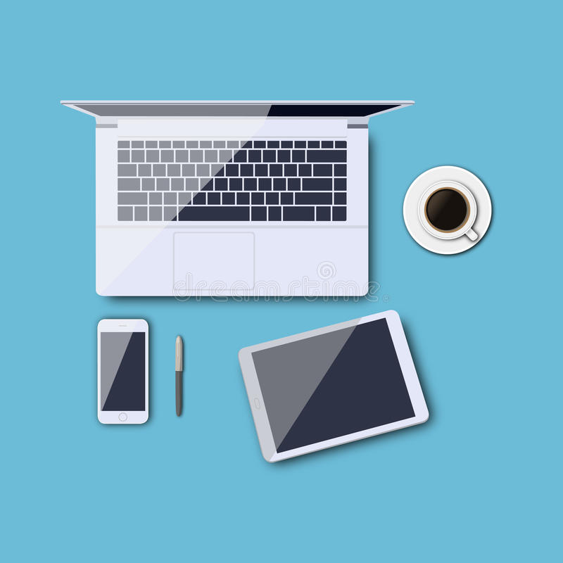Work desk vector illustration. Morning activity. Vector illustration, Eps8. eps10 royalty free illustration