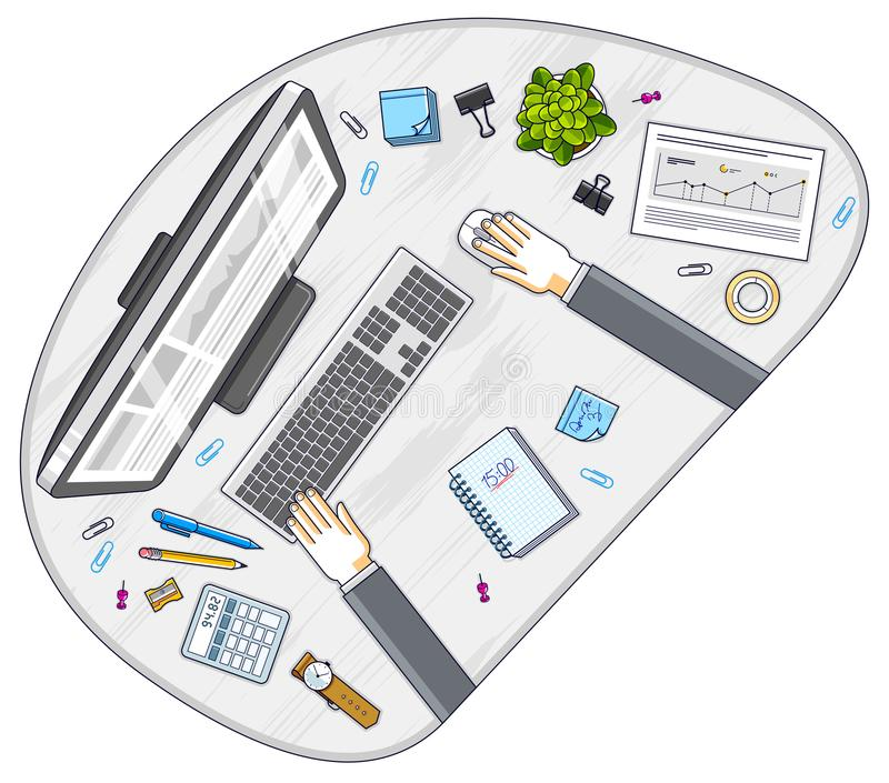 Work desk workspace top view with hands of office worker or entr. Epreneur, PC computer and a lot of different stationery objects on table. All elements are easy royalty free illustration