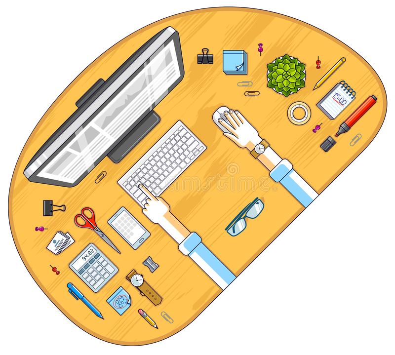 Work desk workspace top view with hands of office worker or entrepreneur, PC computer and a lot of different stationery objects o. N table. All elements are easy stock illustration