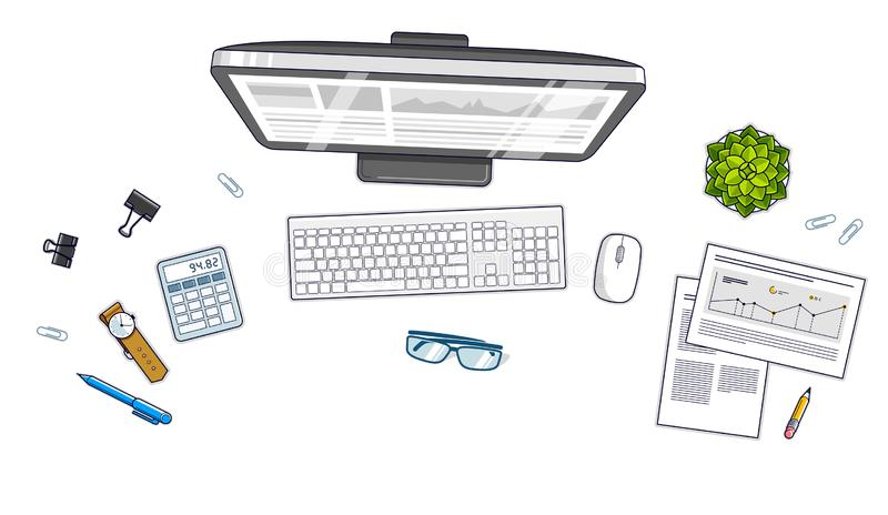 Work desk workspace top view with PC computer and a lot of different stationery objects on table isolated, look above. All vector illustration