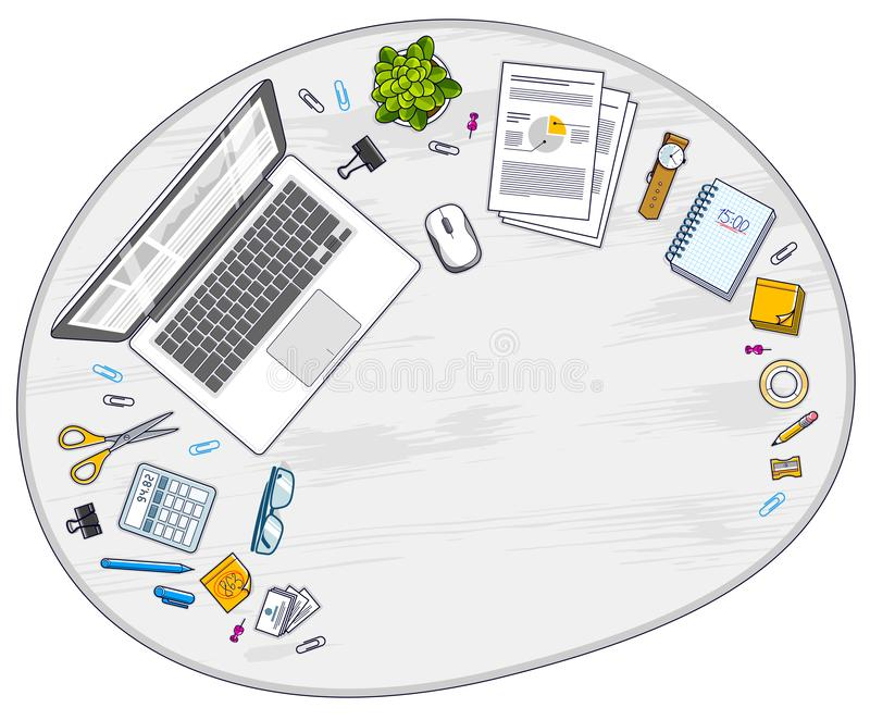 Work desk workspace top view with PC notebook and a lot of different stationery objects on table with copy space for text. All stock illustration