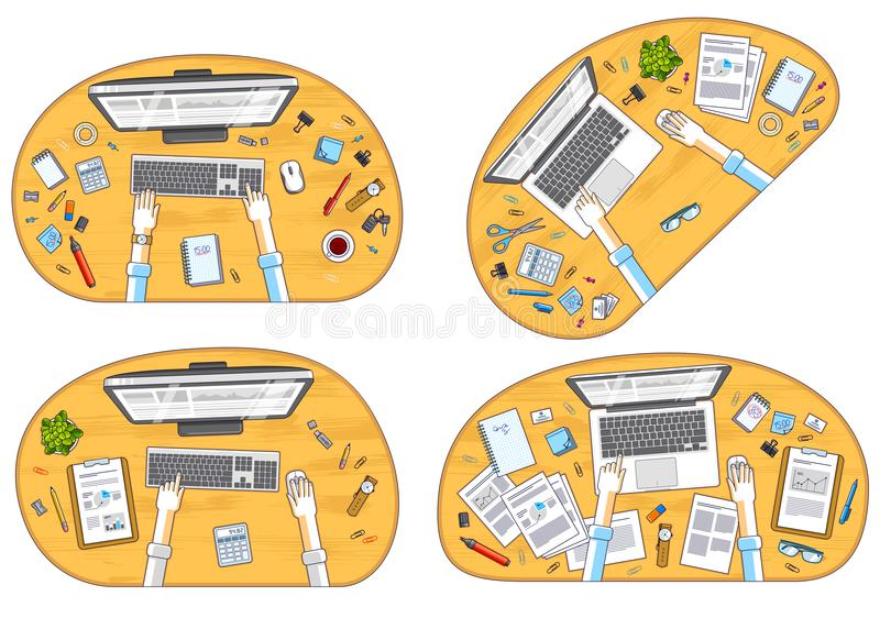 Work desks workspaces top view with hands of office workers or e. Ntrepreneurs, PC computers and a lot of different stationery objects on tables. All elements royalty free illustration