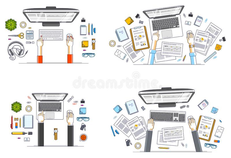 Work desks workspaces top view with hands of office workers or entrepreneurs, PC computers and a lot of different stationery. Objects on tables. All elements stock illustration