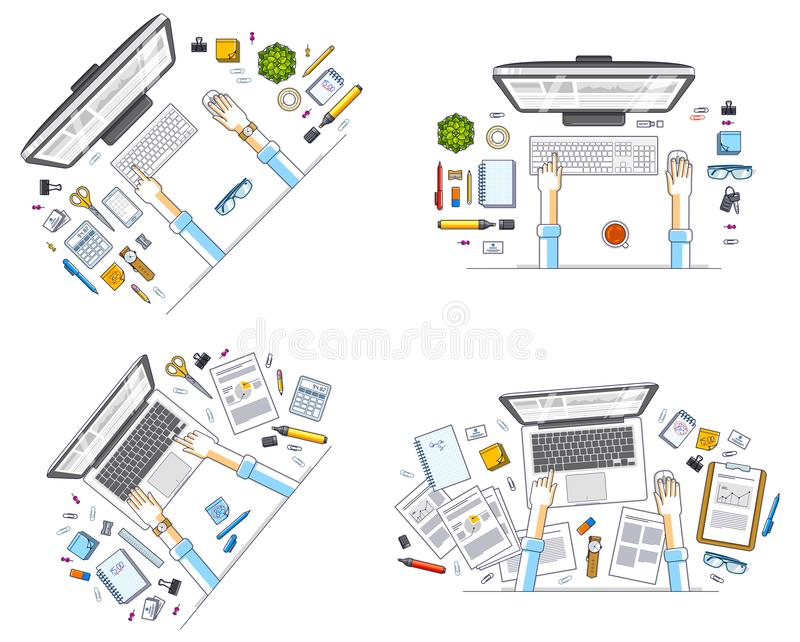Work desks workspaces top view with hands of office workers or entrepreneurs, PC computers and a lot of different stationery. Objects on tables. All elements royalty free illustration