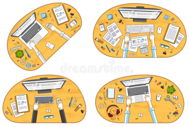 Work desks workspaces top view with hands of office workers or entrepreneurs, PC computers and a lot of different stationery. Objects on tables. All elements vector illustration