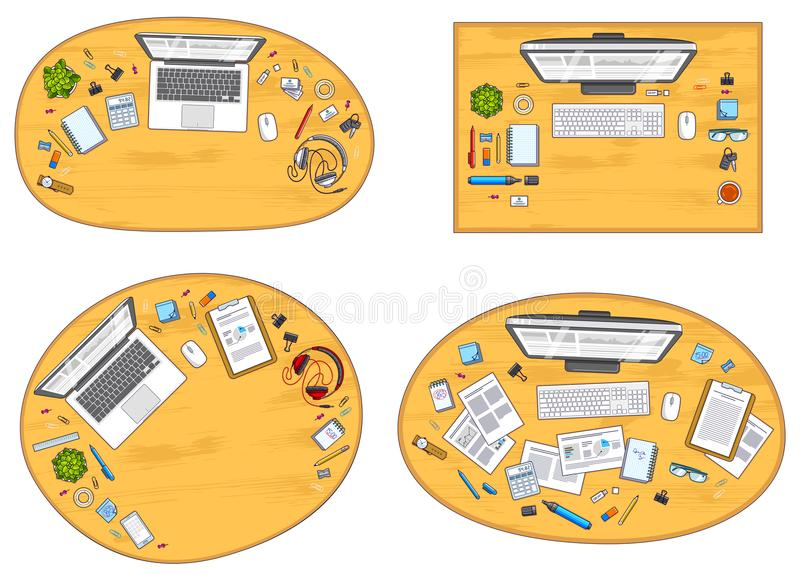 Work desks workspaces top view with PC or laptops and a lot of d vector illustration