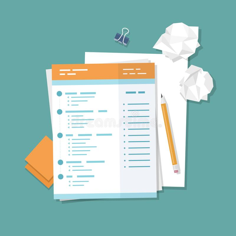Work with documents, filling forms. Blank, crumpled paper, pencil, stickers, binder clip. vector illustration