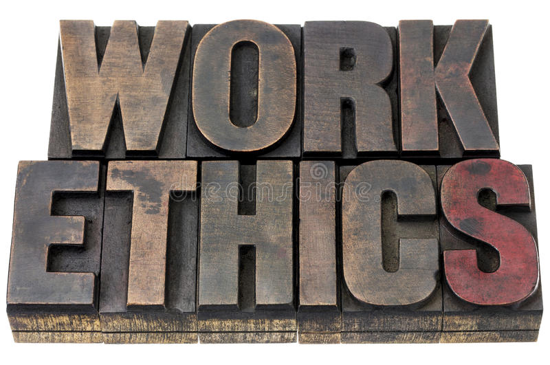 Work ethics in wood type stock photography