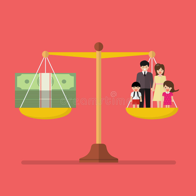 Work and Family balance on the scale. Business Concept vector illustration