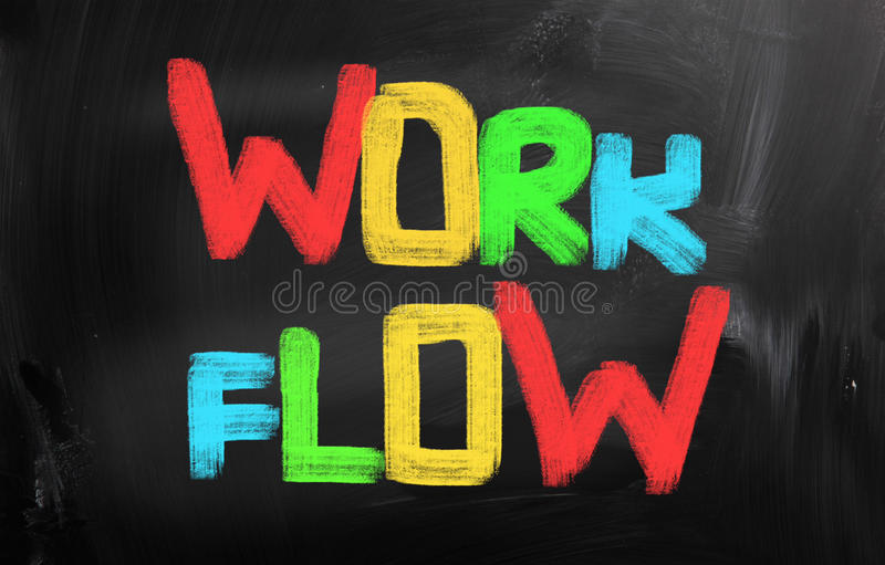Work Flow Concept. Concept Handwritten With Chalk On A Blackboard stock image