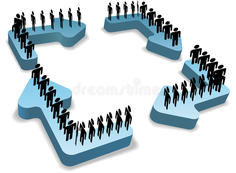 Work flow process people cycle recycle arrows. Organization people work in circles on process management cycle recycle arrows around copy space center royalty free illustration