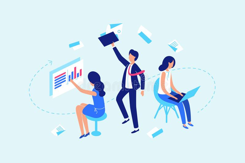 Work flow, working with documents and data royalty free illustration
