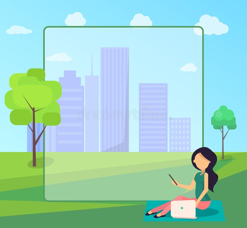 Work on Fresh Air Vector Banner Woman with Laptop. Work on fresh air conceptual vector web banner with place for text. Woman working on laptop sitting on lawn stock illustration