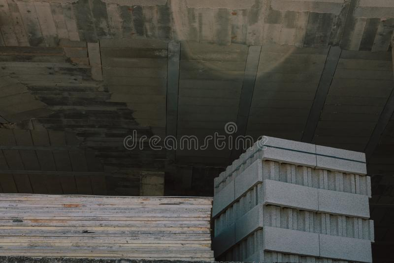 Work in full construction. Building in growth process. Space enabled for construction. stock images