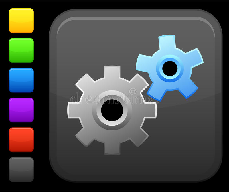 Work gears icon on square internet button vector illustration