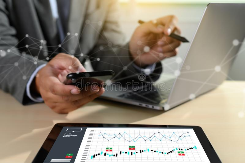 Work hard Data Analytics Statistics Information Business Technology. D stock photos