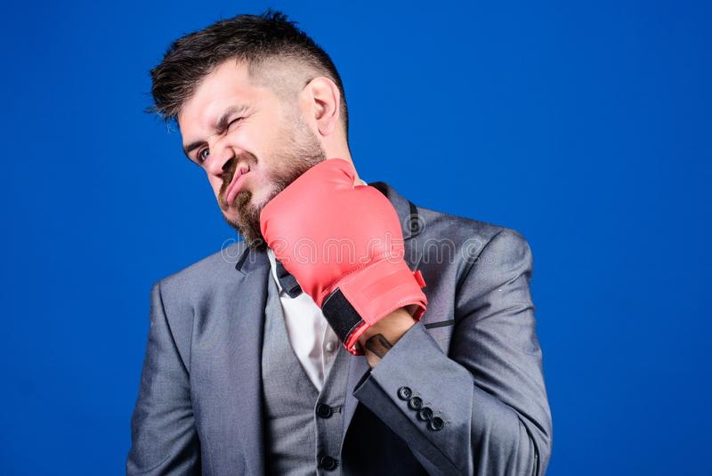 Work hard play hard. Business and sport success. knockout and energy. Fight. businessman in formal suit and tie. Powerful man boxer ready for corporate battle royalty free stock image