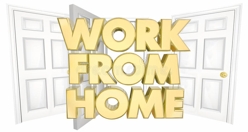 Work From Home Business Open Door Words 3d Illustration vector illustration