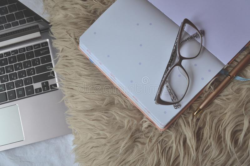 Work at home. Cozy place for freelance work. Freelancer`s workplace royalty free stock photo