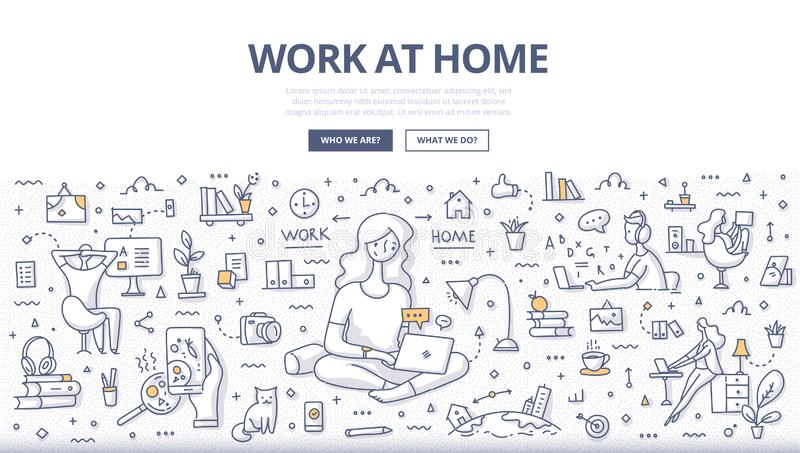 Work at Home Doodle Concept royalty free illustration