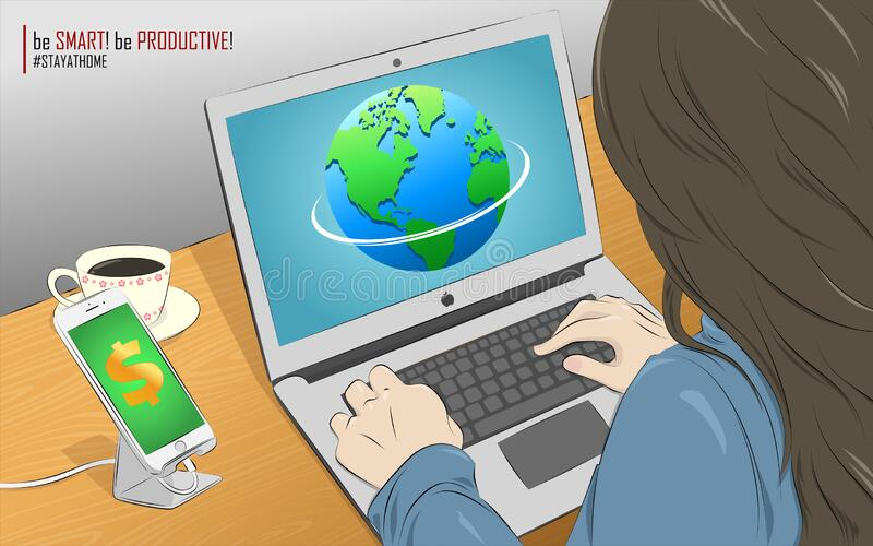 Work From Home Stay Home Smart Productive Phone Laptop Internet Business Money Dollar Globe Earth Coffee Woman Wood Table Vector. Business Coffee Dollar Earth vector illustration
