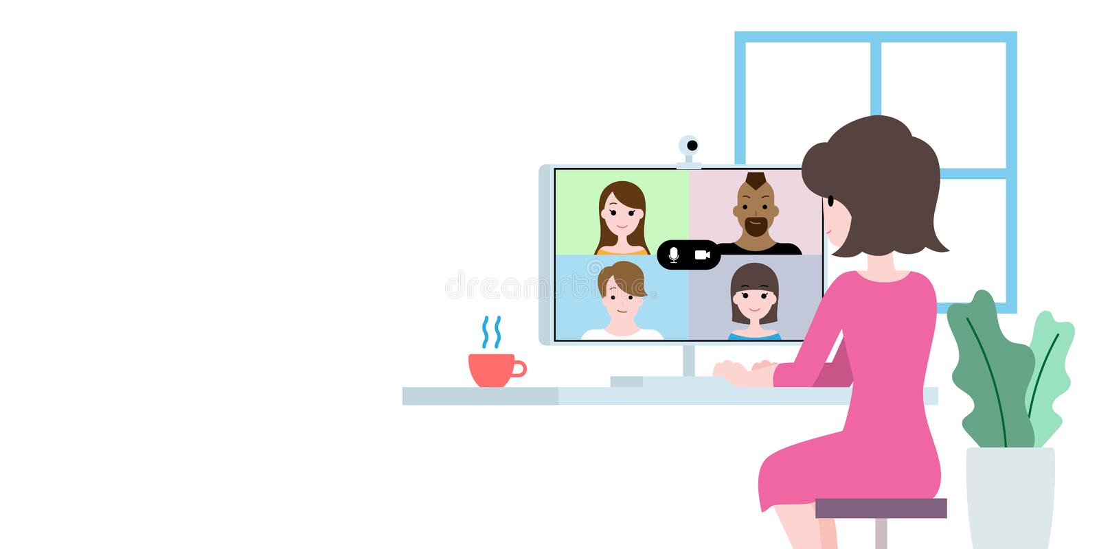 Work from home illustration, video call group conference online communication. Work from home illustration vector, video call group conference online vector illustration