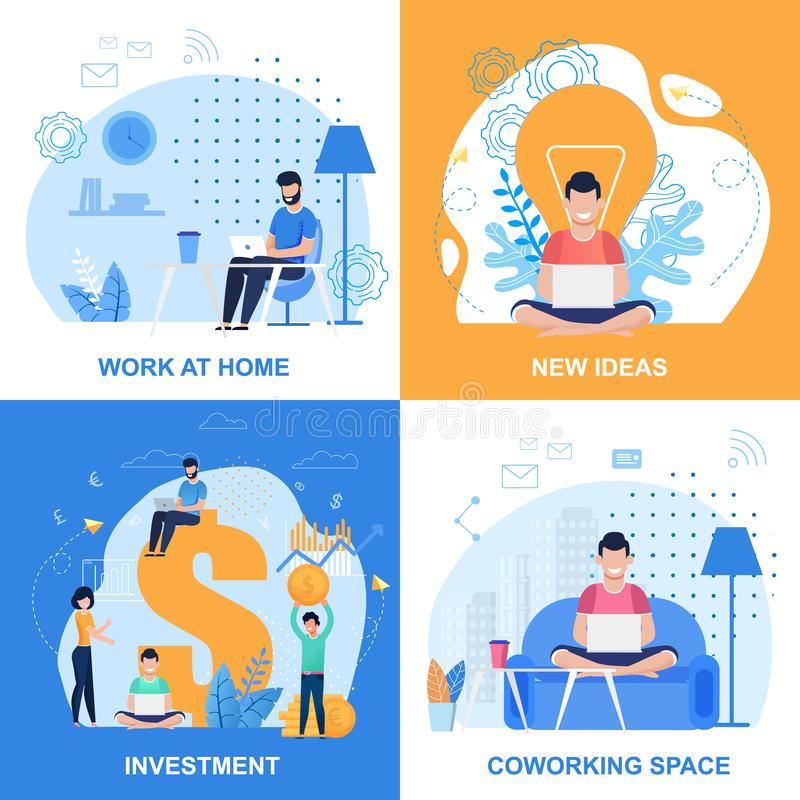 Work at Home or Office, Create Idea, Input Set. Work at Home, Investment, New Ideas and Coworking Space Set. People Using Laptop for Creation, Online Earnings stock illustration