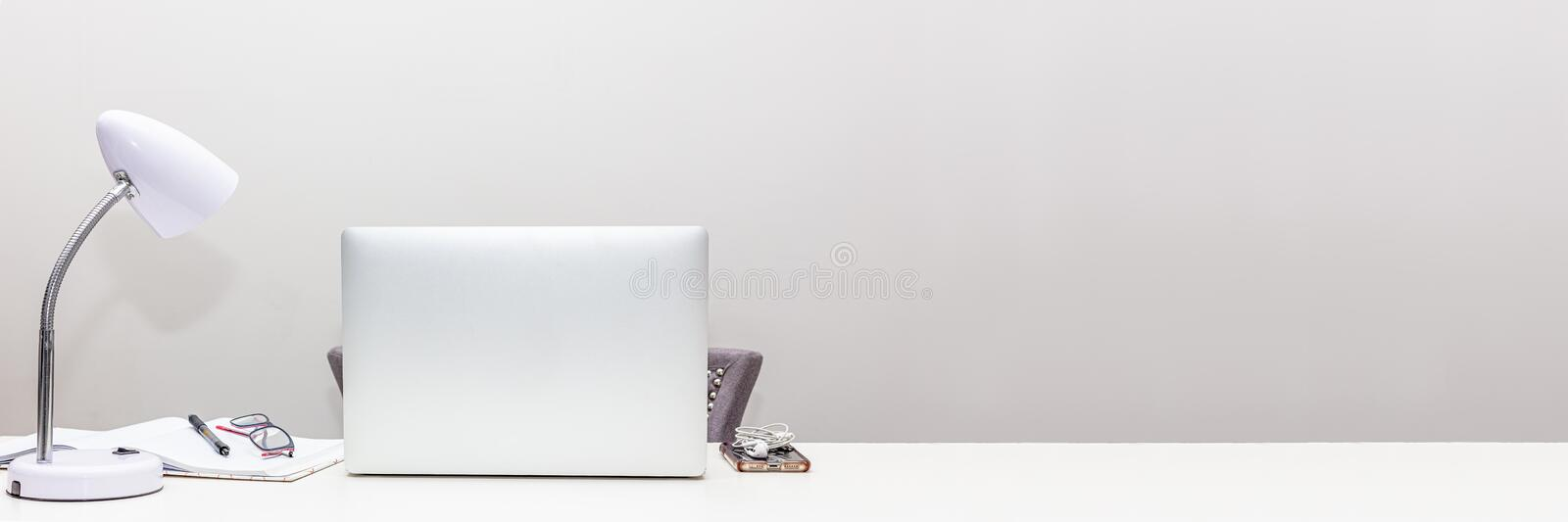 Work From Home Office Space Web Banner stock images