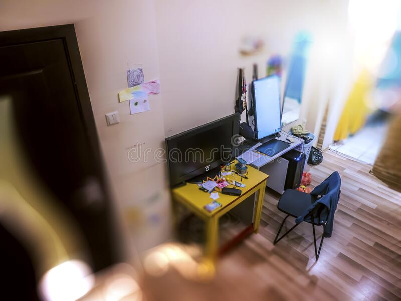 Work from home situation during quarantine. Messy room. Stay home. Work from home situation during quarantine. Messy room. Covid - 19 royalty free stock photography