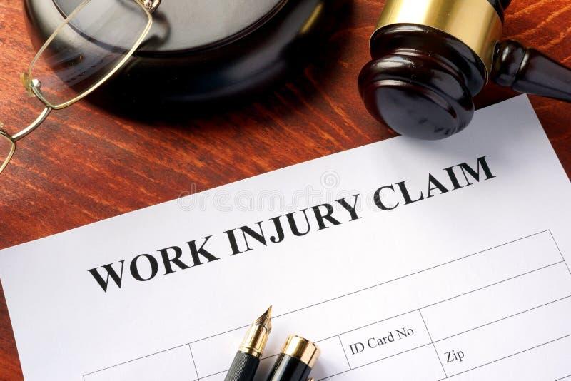 Work injury claim form. Work injury claim form on a table royalty free stock photos