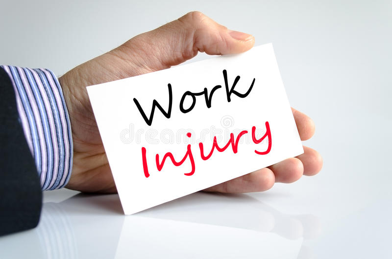 Work injury text concept royalty free stock photo