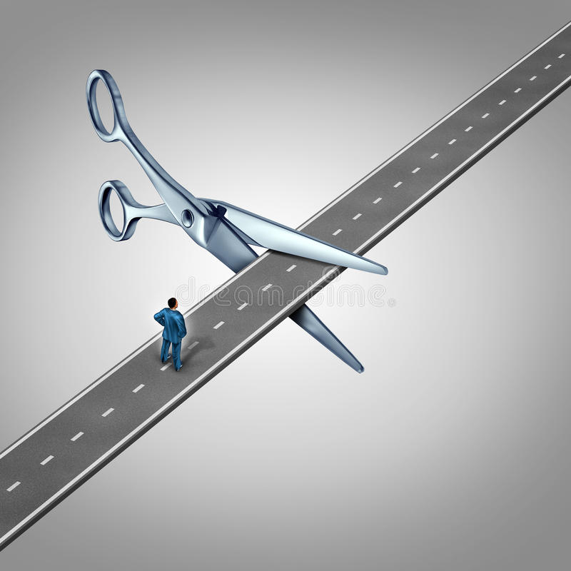Work Interruption. Concept and interrupted career path as a businessman on a road that is being cut by scissors as a layoff metaphor and symbol for job and stock illustration