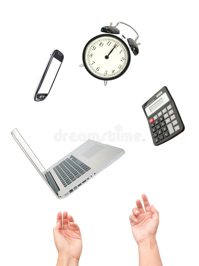 Work juggling act. Hands juggling many office appliances stock image