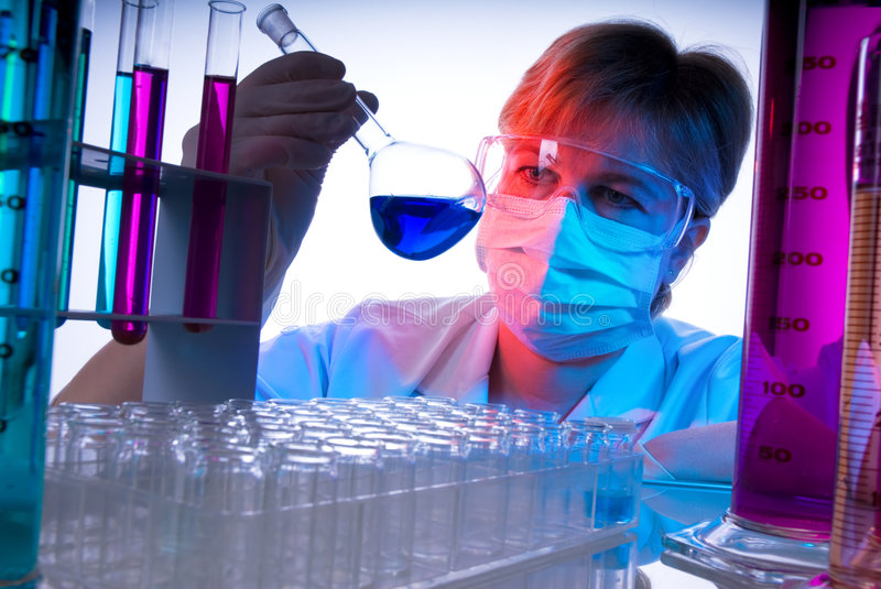Work in the laboratory. A technician at work in the laboratory