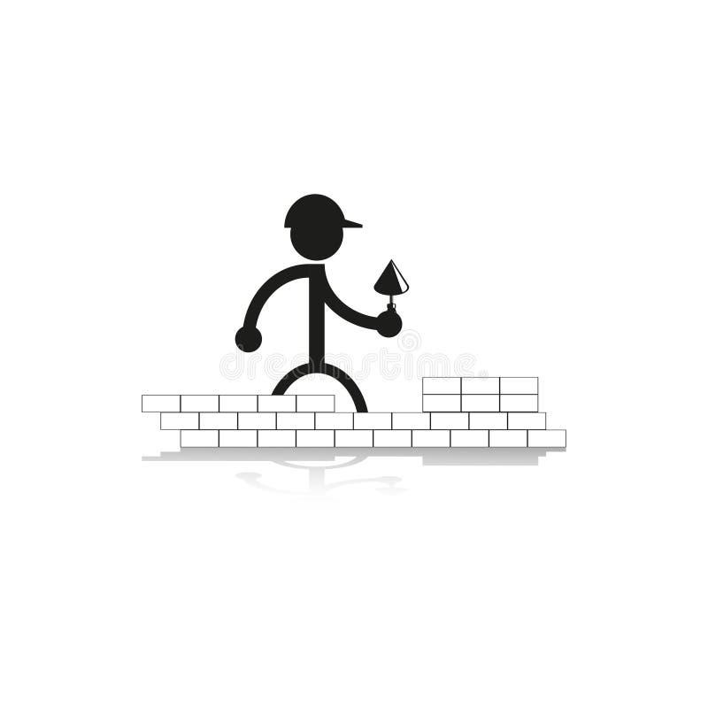 Work on laying bricks. Vector icon. royalty free illustration