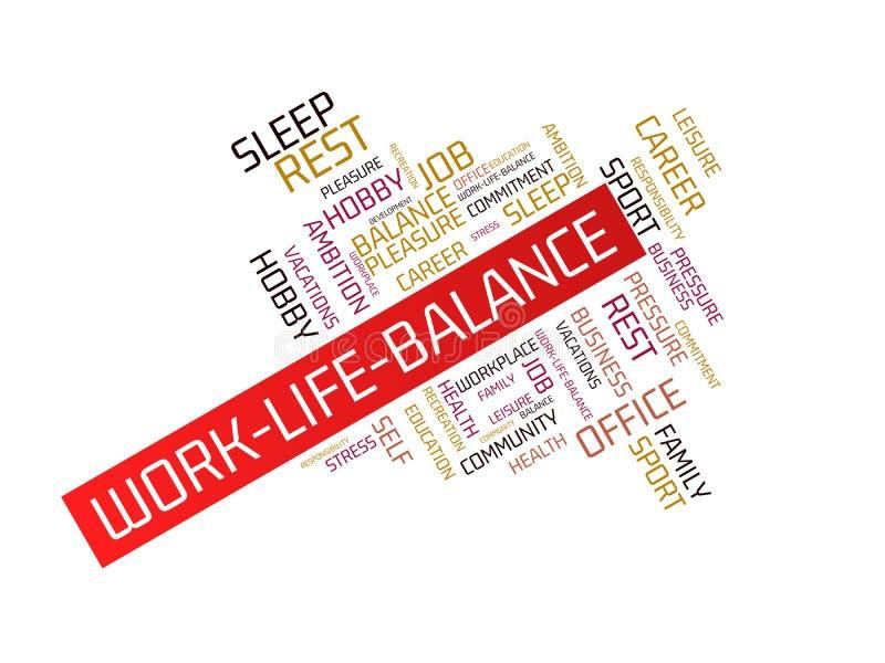 WORK-LIFE-BALANCE - изображение при слова связанные с работ-жизн-балансом темы, облаком слова, кубом, письмом, изображением, иллю иллюстрация вектора