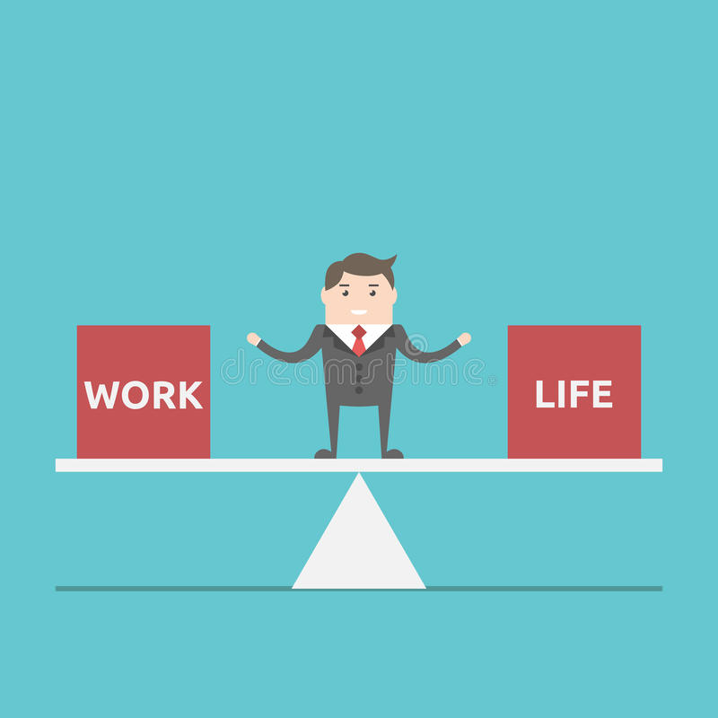 Work and life balance. Businessman balancing between work and life on scales. Business, happness, harmony, lifestyle and time management concept. EPS 8 vector vector illustration