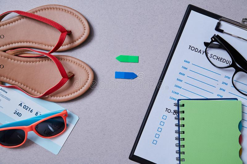 Work life balance choice concept. Accessories for leisure and work.  royalty free stock image