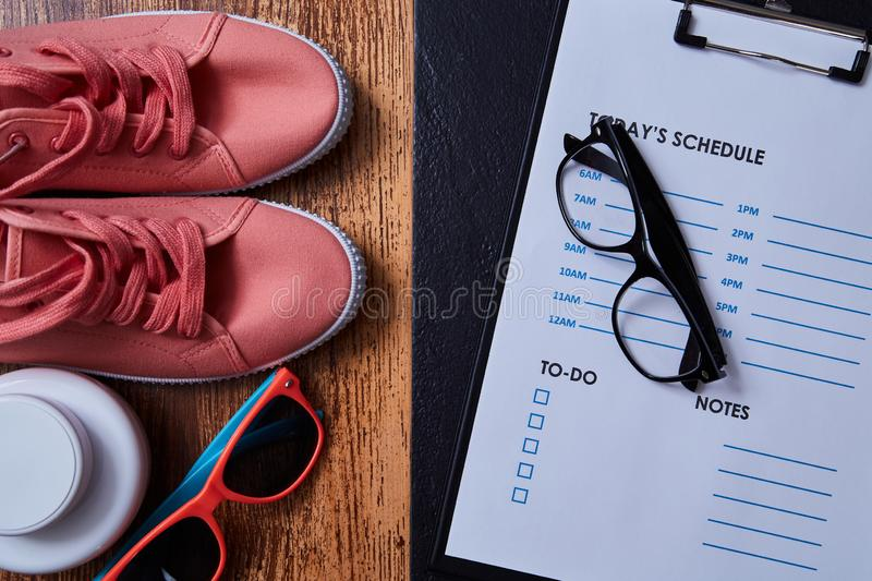 Work life balance choice concept. Accessories for leisure and work.  royalty free stock images
