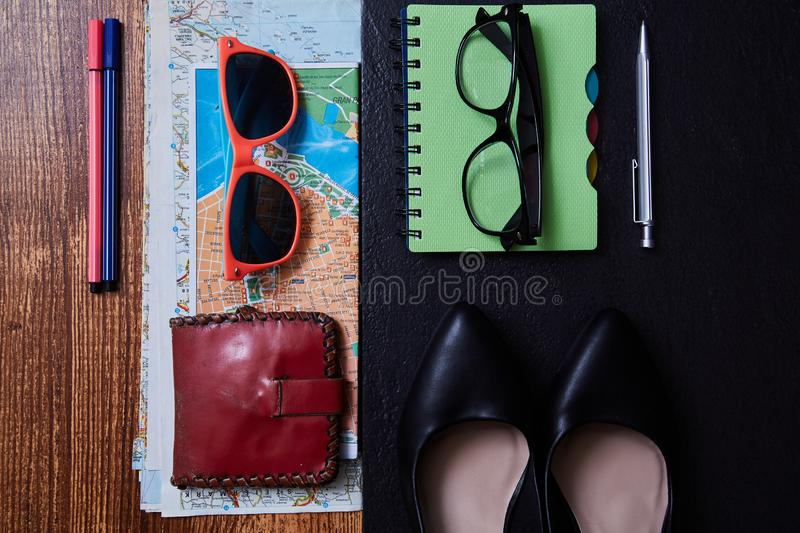 Work life balance choice concept. Accessories for leisure and work.  royalty free stock photos