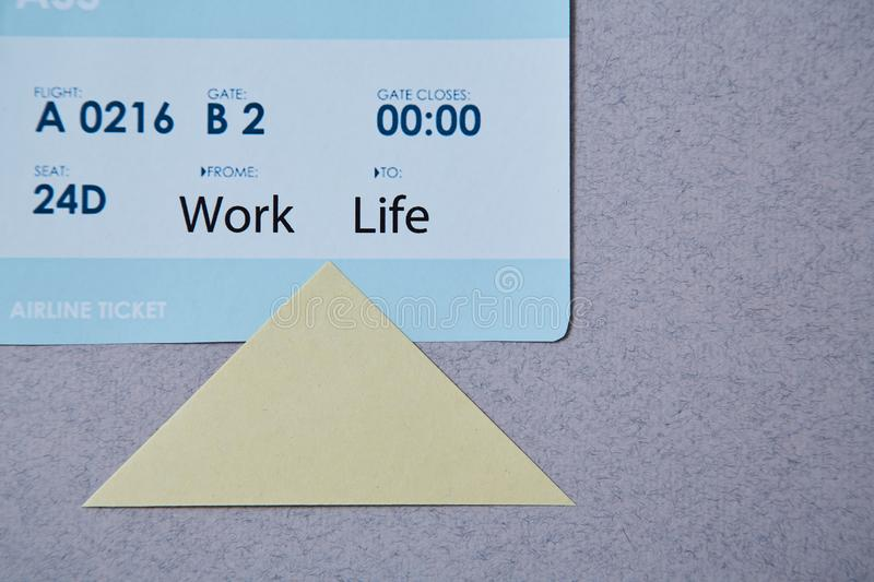 Work life balance choice concept. boarding pass and sticker.  stock image