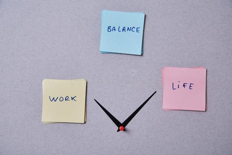 Work life balance choice concept. Clock arrows between stickers with inscriptions. Work life balance choice concept. Arrows pointing to a computer keyboard and a royalty free stock photo