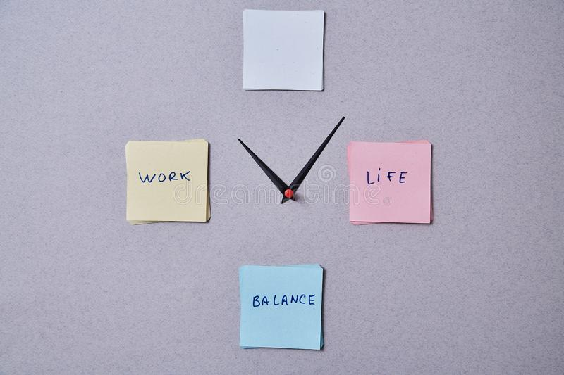 Work life balance choice concept. Clock arrows between stickers with inscriptions. Work life balance choice concept. Arrows pointing to a computer keyboard and a royalty free stock images