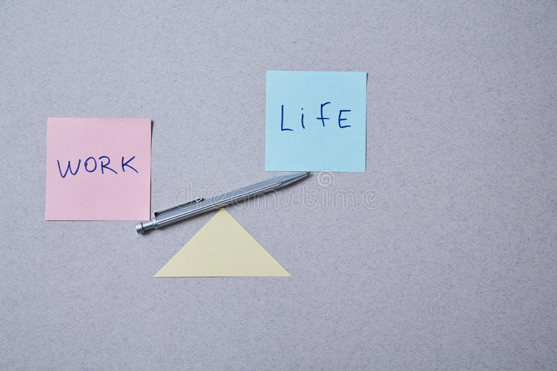 Work life balance choice concept. Stickers with inscriptions.  stock photos
