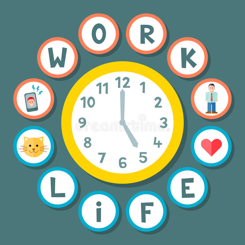 Work Life Balance Clock Concept royalty free illustration