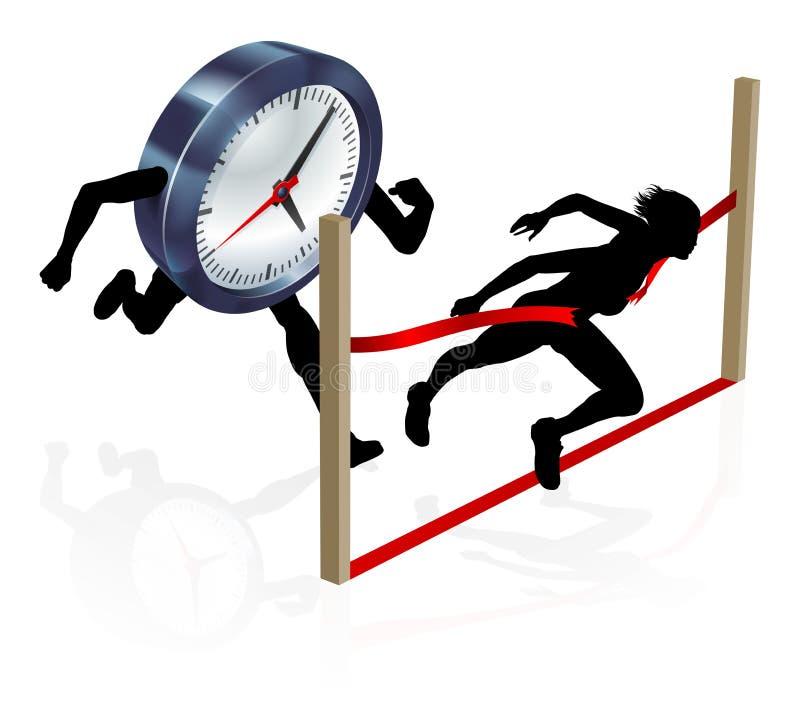 Work Life Balance Clock Race Concept stock illustration