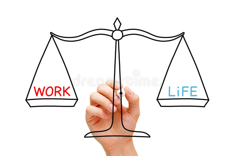 Work Life Balance Scale Concept. Hand drawing Work Life balance scale concept with black marker on transparent wipe board isolated on white royalty free stock image