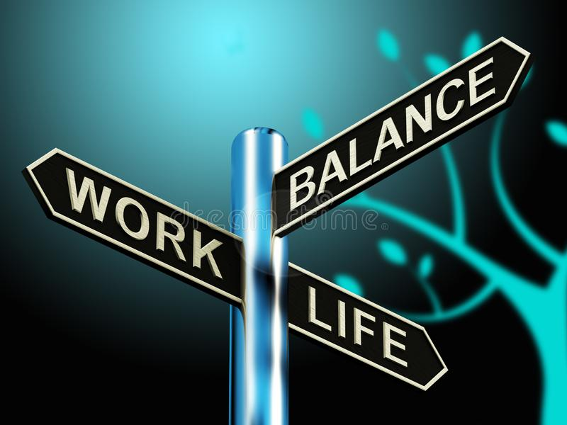 Work Life Balance Signpost Showing Career 3d Illustration. Work Life Balance Signpost Shows Career 3d Illustration royalty free illustration