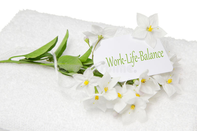 Download Work-Life-Balance Spa Decoration With White Jasmine And A Sign Stock Image - Image: 36244825